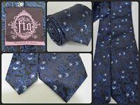Daniel Figueredo Brown Blue Paisley Woven Print Luxury Neck Tie 59 Long SILK