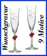 2 Sektgläser mit Gravur - rote Herzen - Hochzeit Valentinstag Sektglas