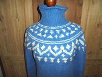 vintage Strickpulli Wollpulli Rollkragen blau hippie oldschool pulli 80s Gr.M