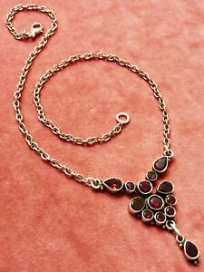 Prachtvolles Granat Collier, Silber, Granat Kette mit großen Steinen