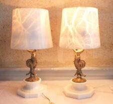paire lampe bronze marbre abat jour marbre