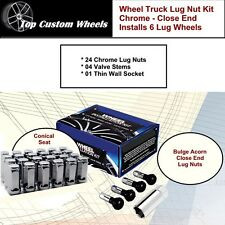 C1709HLX Lug Kit Wheel Close End Chrome Lug Nuts M14x1.5 fit GMC Sierra 99-17