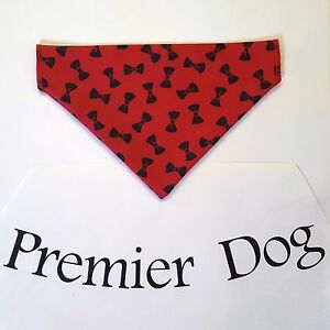 Red & Black Bow Dog Bandana - slips onto your dogs collar - 2 sizes available