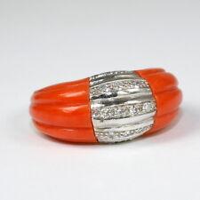 Aufwendiger Ring mit Koralle und Diamant, 750 Gelbgold Weissgold,