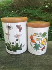 Portmeirion Botanic Garden , 2 Pottery  Canisters w/ Lids, Daisy-Cotton Flower