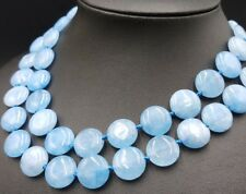 14mm Coin Natural Aquamarine Gemstone Beads 35 Inch Long Necklace