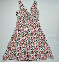 SEASALT Killigrew Floral Cotton Summer Sun Dress UK 10 V Neck Lined