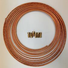 CITROEN 4.5MM COPPER BRAKE PIPE TUBING 25 FEET INCLUDES BRASS BRAKE PIPE UNIONS