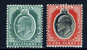 MALTA King Edward VII 1904-14 A Watermark Mult Crown CA Group SG 47 & SG 48 MINT
