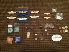 VINTAGE CONTINENTAL AIRLINES FLIGHT ATTENDANT WINGS BADGES PINS BUTTON ETC LOT