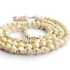 108 White Howlite Turquoise Skull Tibet Buddhist Prayer Beads Mala Necklace
