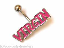 Logo Belly Navel Bar V*rgin Pink Enamelled 10mm