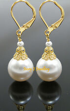 BIG WHITE Swarovski Pearl Drop Earrings One Pair -Your choice of Silver or Gold