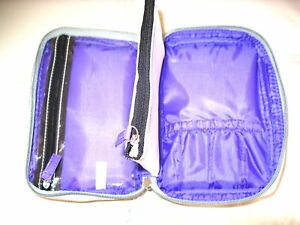 New Silver Gray & Purple Sectioned Organizer Makeup Case Cosmetic Bag
