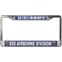 US ARMY 82ND AIRBORNE DIVISION METAL LICENSE PLATE FRAME - MADE IN USA!!