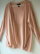 Lane Bryant Womens 14/16 Long Sleeve Open Cardigan Sweater Light Pink Zippers