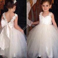 White Communion Lace Tulle Flower Girl kid Wedding Birthday Party Princess Dress