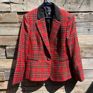 🌻Kasper Red Black Plaid Tartan Jacket Blazer Size 16