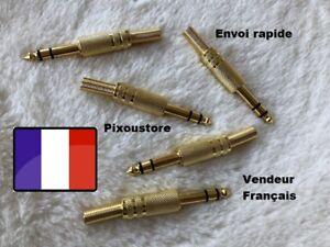 Fiche Jack 6,35mm stéréo doré mâle à Souder tout métal  NEUF