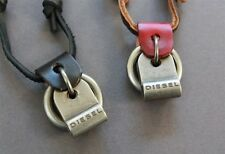 NEW Leather Men's Metal Diesel Pendant Surfer Necklace Choker Adjustable