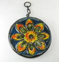 Ruscha Fat Lava Space Age Keramik Fließe Wandbehang Sonnenblume Wandplatte 60er