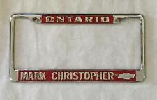 Mark Christopher Chevrolet Dealer License Plate Frame Ontario, CA Restored 1956+