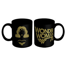 WONDER WOMAN BLACK & GOLD MUG - DC Wonder Gold Design - Tea Cup 330 mls