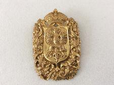 Vintage Miriam Haskell Goldtone Brooch Heraldic Coat of Arms