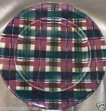 "IDEN POTTERY RYE SUSSEX ENGLAND TARTAN PLAID 10 5/8"" DINNER PLATE RED & GREEN"
