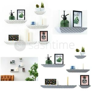 Set of 5 Floating Wall Shelves Picture Ledge Display Rack Book Hanging Shelf New