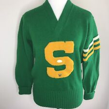 Imperial Letterman Varsity Sweater Green Yellow S Wool Sz 42 Vintage 40s 50s
