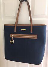 425bdde86c7e83 NWT Michael Kors Large Kempton Canvas Leather Tote Shoulder Handbag Navy NEW