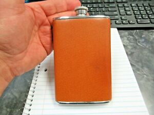 Vintage Made in England Chrome SS Leather Wrap 80z Bourbon Whiskey Flask Nice!