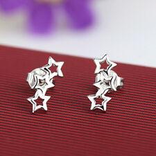 1Pair Cute Silver Plated Small Three Stars Ear Stud Women Pentagram Earring New
