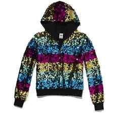 VICTORIA'S SECRET PINK® FASHION SHOW RAINBOW SEQUIN BLING HOODIE SZ M (12-14)
