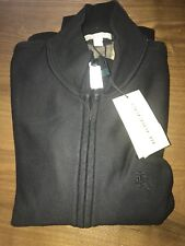 New Burberry Men Hearst Zip Up Sweater Sweatshirt Jacket Logo Knight Black XXL M