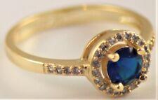 BNWOT Costume jewellery engagement style ring blue stone U.K. Size R 1/2