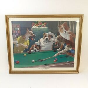 """Arthur Sarnoff Framed Print """"Jack the Ripper"""" Dogs Playing Pool Funny Wall Art"""