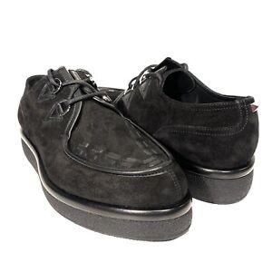 VALENTINO Garavani Mens Suede Leather Platform Derby Shoes Black 40 -MSRP $1,095