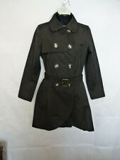 CeCe Women's Trench Coat Double Breasted Buttons Front Belted Black Sz P Petite