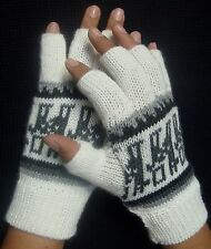 NEW, 100% ALPACA WOOL FINGERLESS GLOVES, WHITE COLOR ANDEAN, SOFT, WINTER WARM a
