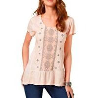 Style Co Embellished Shirt Scoop Neck Top Crushed Pink Petal Womens Sz S M L XL