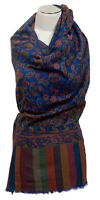 Kani Schal Blau Wolle Seide silk wool stole Blue woven ècharpe blu sciarpa lana