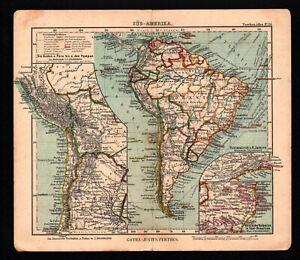 Antique map. SOUTH AMERICA. POLITICAL MAP. c 1906