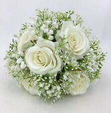 Hand-tied Artificial Flower Cream Rose with Baby's Breath Flower Girl Posy