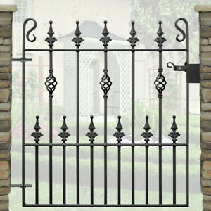 """Safety Spear Top Single Garden Gates Wrought Iron Metal Steel Gate-2ft 9""""Opening"""