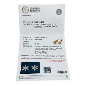 10k Rose Gold .07ctw Single Cut Diamond Flower Stud Earrings with IGI Report