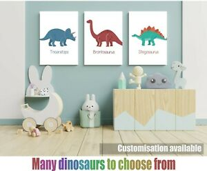 DINOSAUR nursery art prints SET OF 3 - wall art poster childrens room deco play