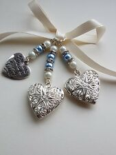 """Wedding Bouquet Photo Charm Double Silver Filigree Locket and """"always"""" Charm"""