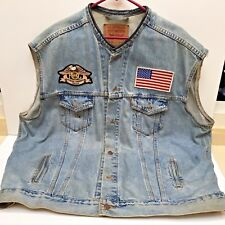 LEVI'S HARLEY DAVIDSON SLEEVELESS JEAN JACKET, Silverdale WA Chapter XXL, Used